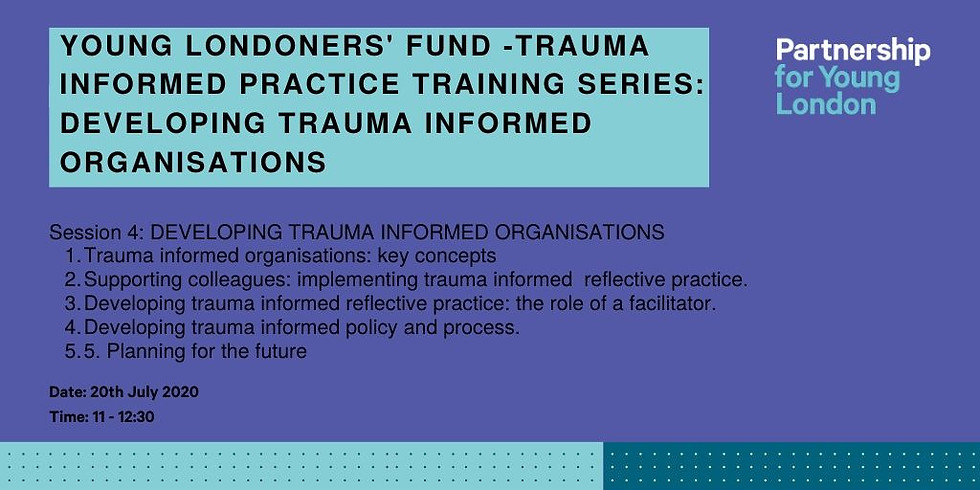 Young Londoners' Fund -Trauma informed practice training series: Developing Trauma Informed Organisations