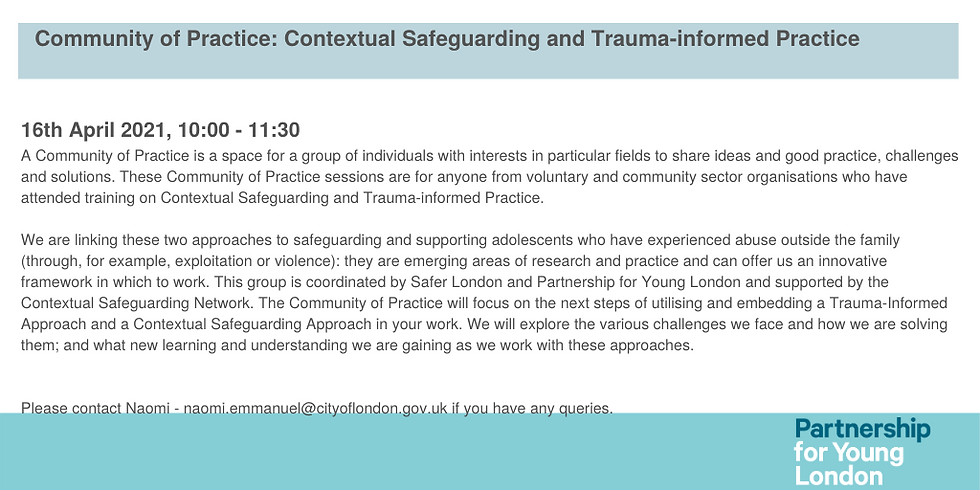 Community of Practice: Contextual Safeguarding and Trauma-informed Practice (2)