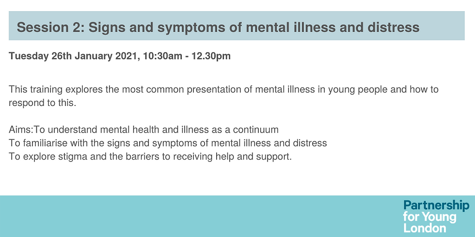 Session 2: Signs and symptoms of mental illness and distress.