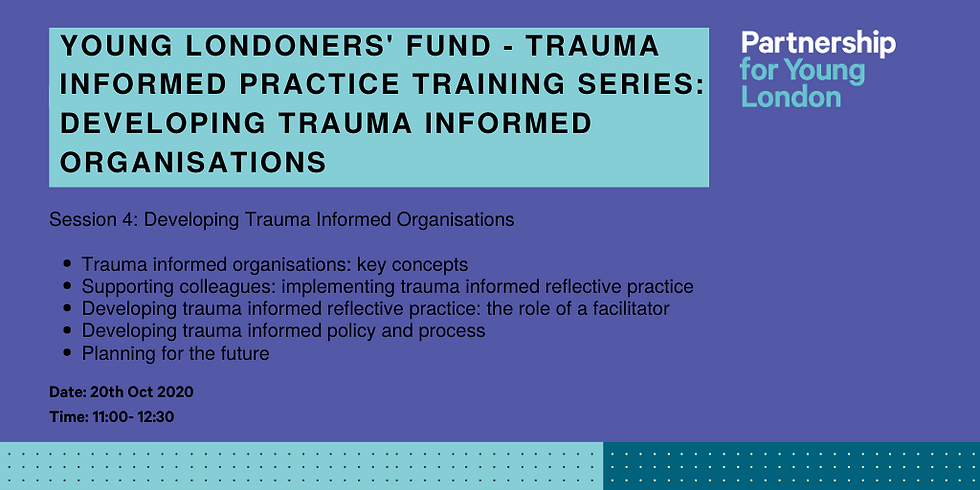 Young Londoners' Fund - Trauma informed practice training series: Developing Trauma Informed Organisations