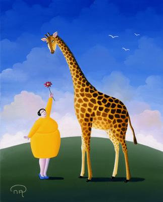 La girafe et la fleur