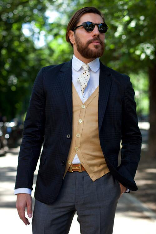 Get This Look: Classic Navy Coat & Camel Cardigan