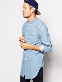 Asos Denim Shirt In Longline With Mid Wash And Grandad Collar