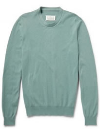 Maison Martin Margiela Suede Elbow Patch Cotton And Wool-blend Sweater