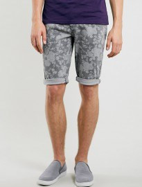 Topman Grey Skinny Floral Denim Shorts