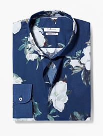 He By Mango Modern Slim-fit Floral Shirt
