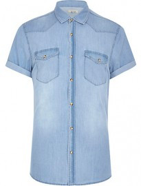 River Island Light Wash Short Sleeve Denim Shirt