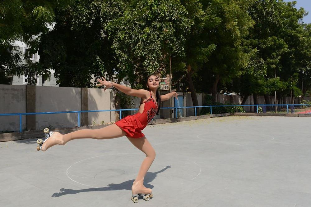 Mishri Utkarsha Parikh, 14, practices her figure staking techniques on rollerskates