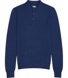 Reiss Sphinx Wool Polo Shirt Bright Blue