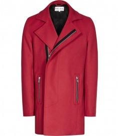Reiss Outkast Concealed Zip Coat Red