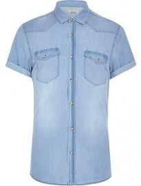 River Island Light Wash Short Sleeve Denim Shirt