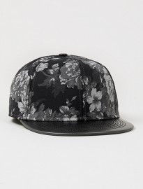 Topman Black Floral Snapback Cap