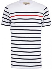 River Island Navy Contrast Stripe Short Sleeve T-shirt