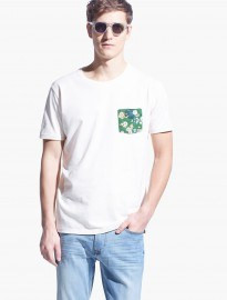 He By Mango Floral-print Chest-pocket T-shirt