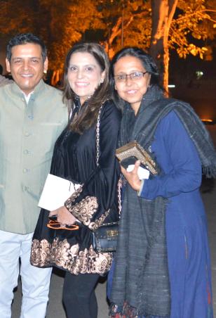 FDCI Board members Abhishek Gupta, Reynu Taandon and Anju Modi supporting the khadi fashion show in Ahmedabad.