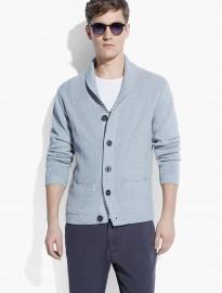 He By Mango Shawl-collar Textured Cardigan