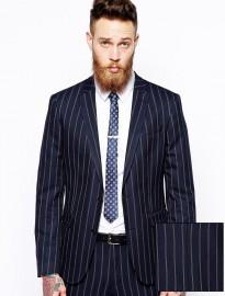 Asos Slim Fit Suit Jacket In Fine Stripe