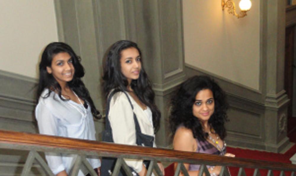 Raksha Bharadia (far right) with her teen daughters