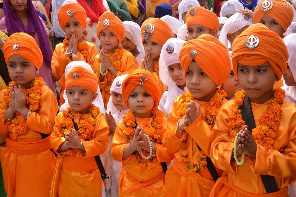 Sikh school children at the Golden Temple