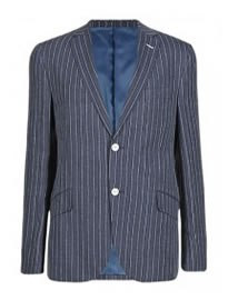 M&s Collection Luxury New Linen Rich Tailored Fit 2 Button Striped Jacket