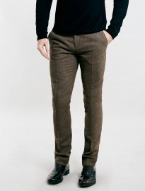 Topman Brown Textured Skinny Fit Suit Trousers