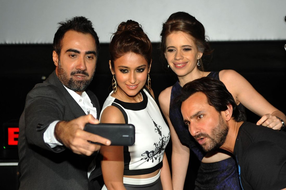 actors Ranvir Shorey, Ileana D'Cruz, Kalki Koechlin and Saif Ali Khan take a selfie during the trailer launch of  Happy Ending