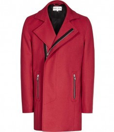 Reiss Outkast Concealed Zip Coat Red