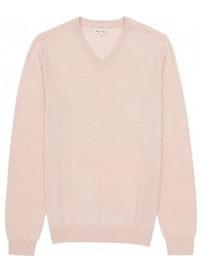 Reiss Alto V-neck Merino Wool Jumper Pink
