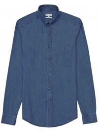 Reiss Royce Washed Denim Shirt Indigo