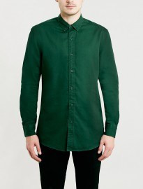 Topman Washed Green Twill Long Sleeve Shirt