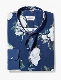 He By Mango Modern Slim-fit Floral Shirt