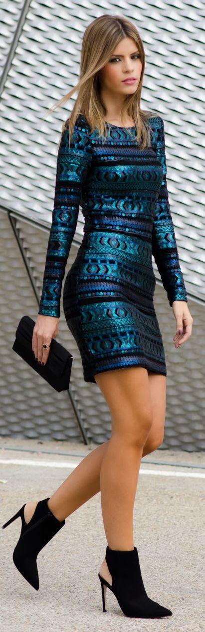 Metallic Teal Patterned Sequin Mini Dress by Ms Treinta