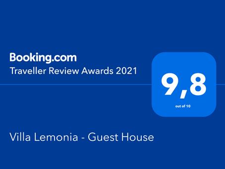 Booking.com Travellers Award 2021 - Villa Lemonia Guesthouse