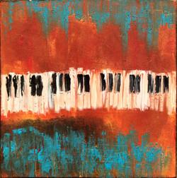 Clavier de piano huile