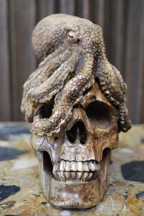 Decorative Carved Wood Skull