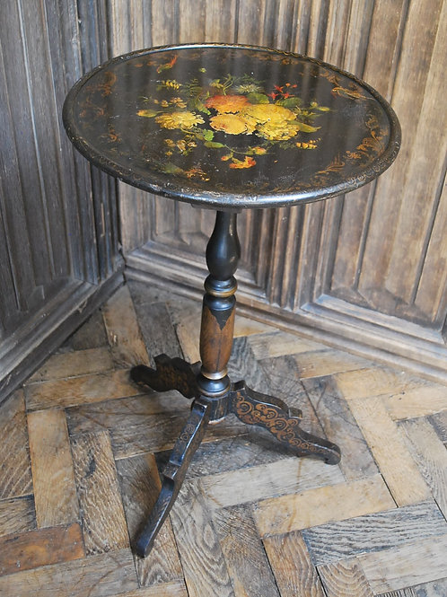 Antique French Ebonised Tripod Table