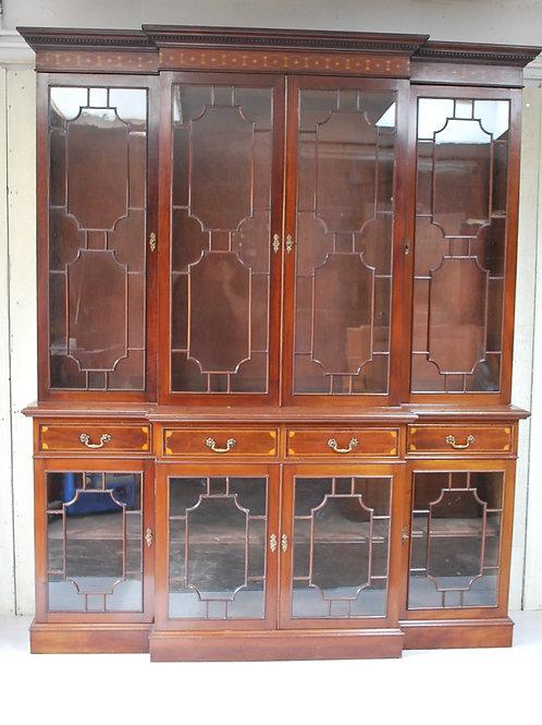 English Breakfront Mahogany Bookcase