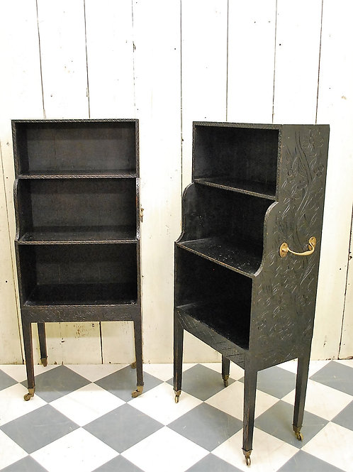 Pair of Regency style Ebonised Waterfall Bookcases/shelves