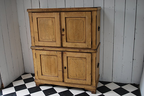Antique French painted campaign cupboard