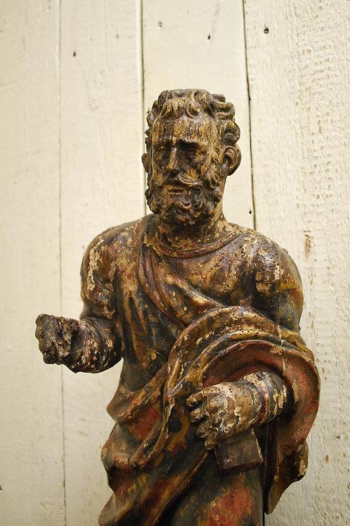 17th Century Carved Limewood Figure (Saint Peter)