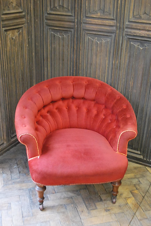 Antique English upholstered tub chair