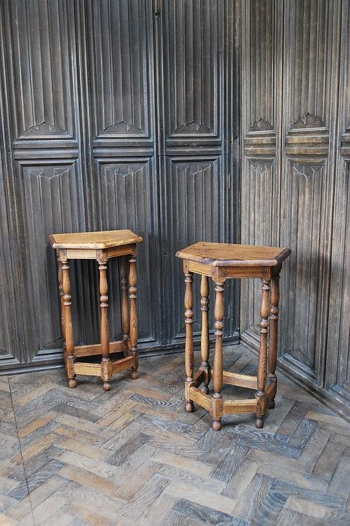 Pair of Turned Oak Bedside Tables