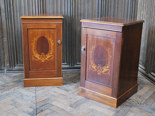 Antique Edwardian Inlaid Bedside Cupboards