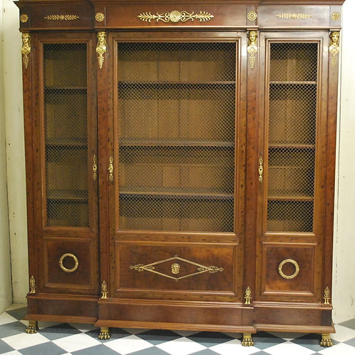 Antique Mahogany French Empire Period Breakfront Bookcase/ Bibliotheque