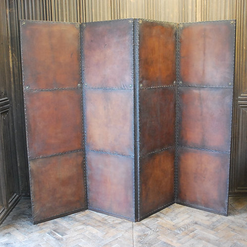 Continental leather four-fold screen