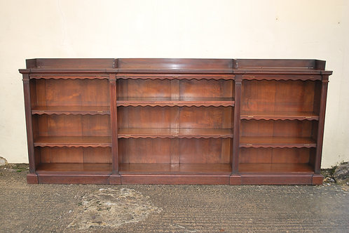 Antique Walnut English Breakfront Open Bookcase / Shelves