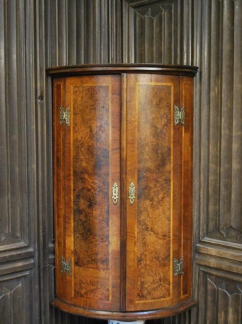 Antique Burr Walnut bowfront Corner Cupboard
