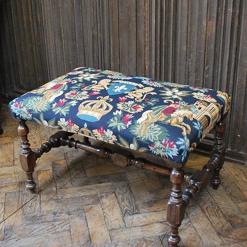 William and Mary walnut foot stool