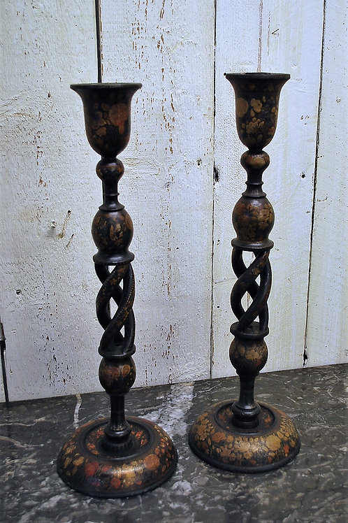 Pair of Antique Kashmiri Candlesticks/ Lamps