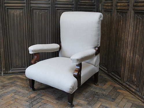 Antique Scottish Upholstered Reclining Armchair